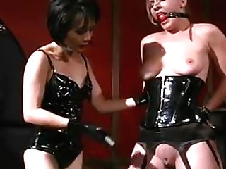 Lesbo Honey In Leather Spanks And Gags Superslut