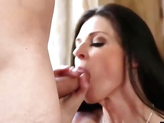 Horny Black-haired Is Often Secretly Fucking Her Son-in-law's Friend, Because She Likes His Rock Hard Dick