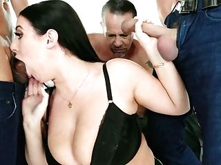 Mega Juggy Bitch Angela Milky Takes Part In Crazy Blowbang Scene