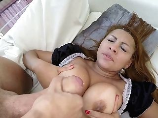 Whorish Maid In Sexy Uniform Perla Is Grinding A Dick With Her Mouth And Butt Hole