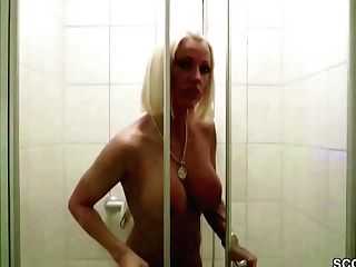 German Big Tit Cougar Caught In Bathroom And Entice To Fuck