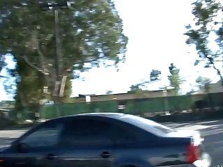 Provocative Black-haired  Masturbates Vagina While Driving  A Car