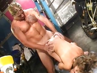 Blonde Leathered Honey Fucks Yard Boy In The Garage