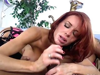 Domme Cougar Penalizes Her Black Beau