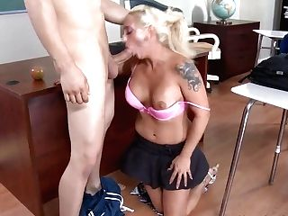 Buxomy Blonde Tattooed Cougar Serena And Her Student